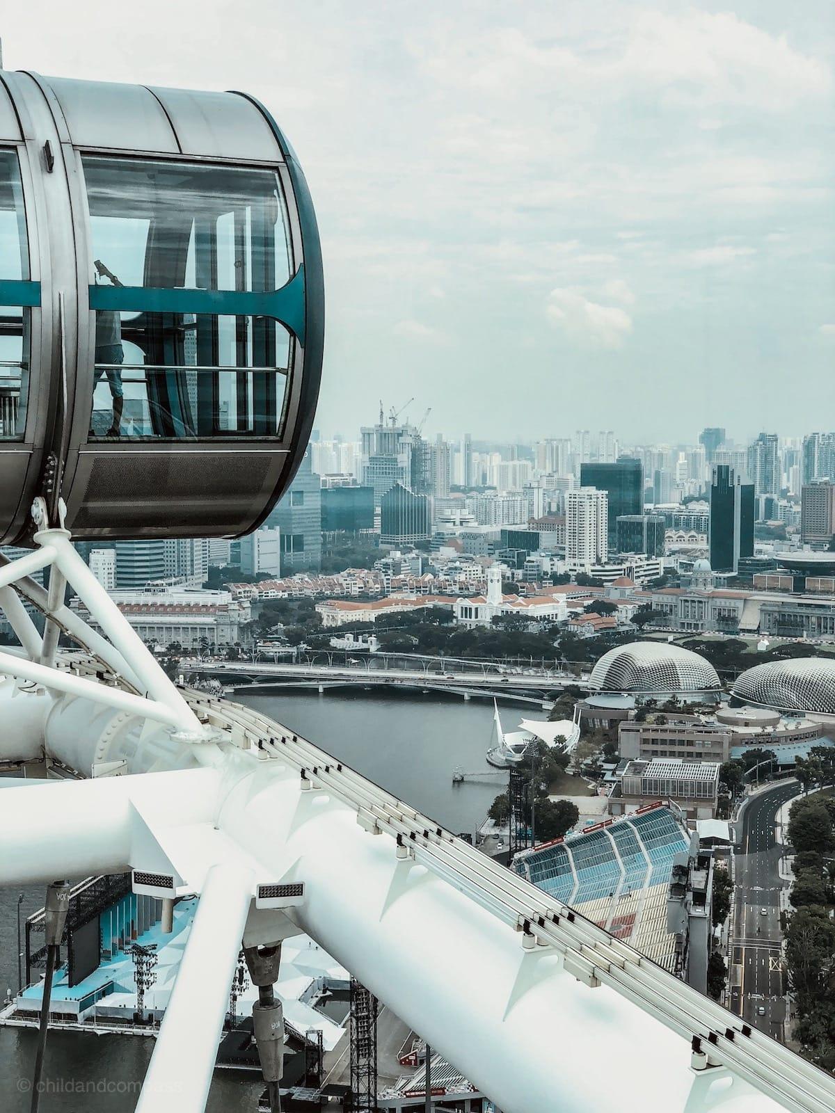 Singapore Flyer Riesenrad,Abends ab 19:30 Uhr werden die gigantischen Konstrukte bunt beleuchtet und es findet eine passende Musikshow statt. Wir haben es uns auf einer der vielen Bänke im Park gemütlich gemacht und uns das Spektakel mit mitgebrachten Getränken und einem kleinen Snack von unten angeschaut.