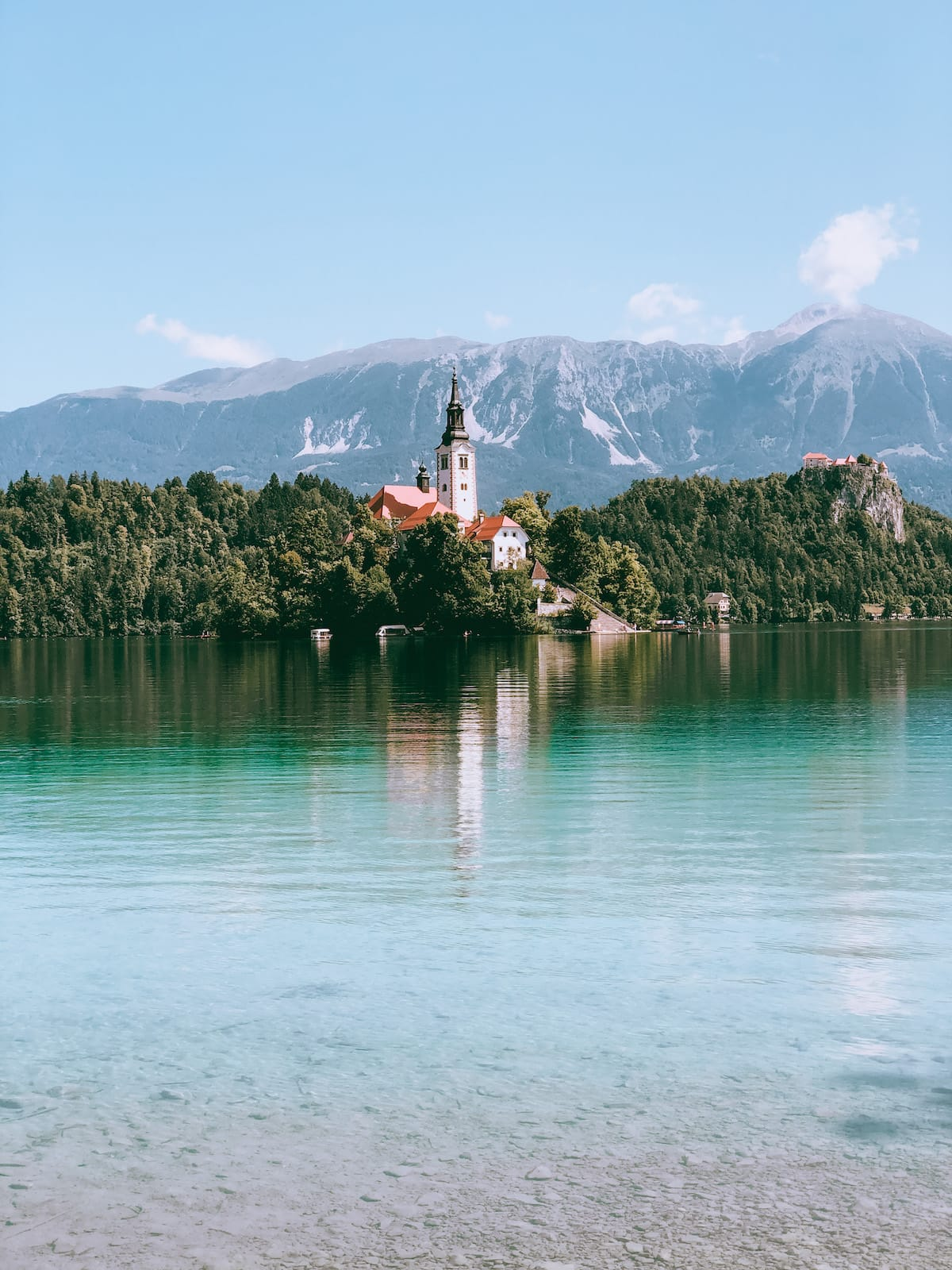 Kirche am Lake Bled in Slowenien